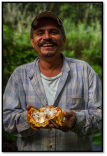 Marvin Venega with a cacao pod